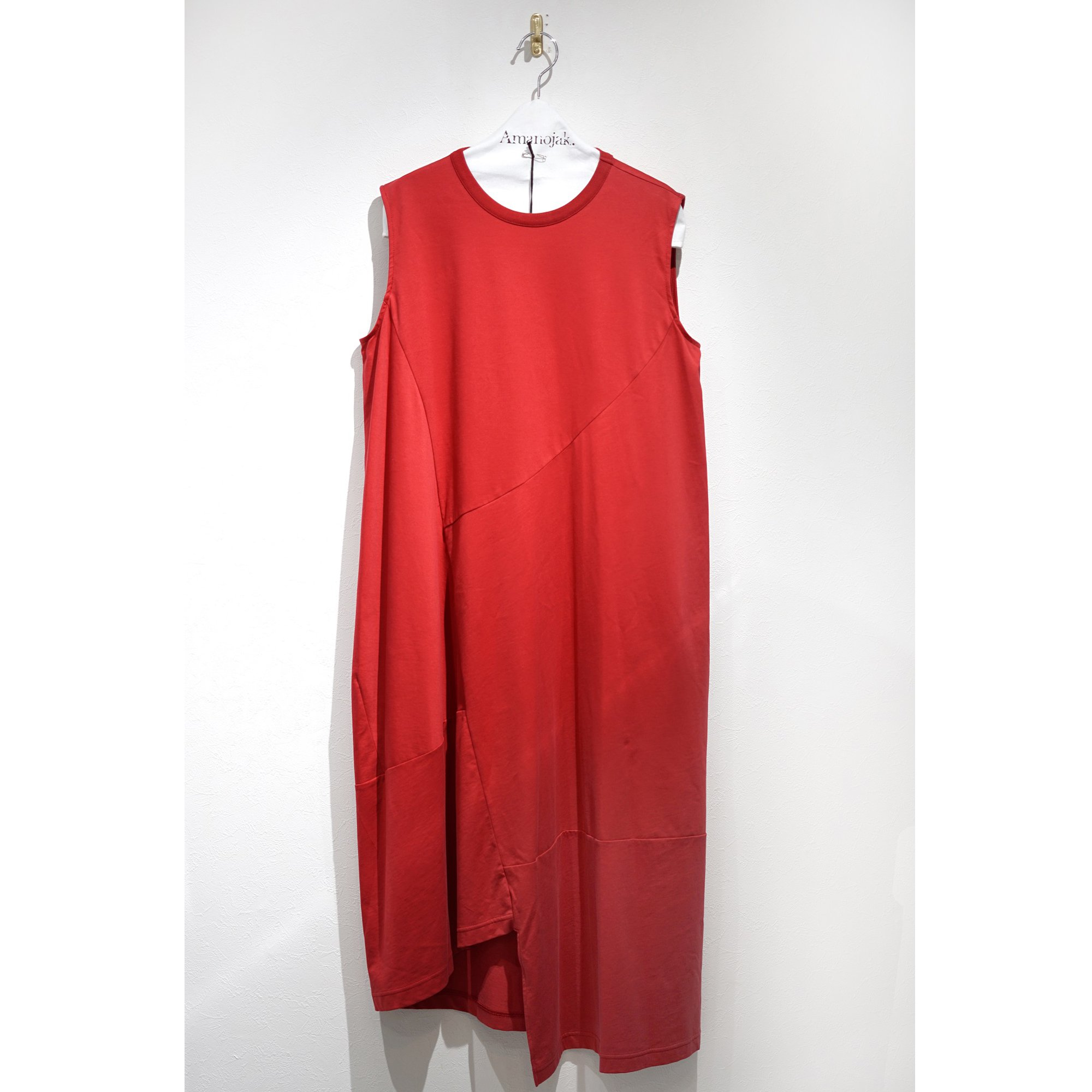 08sircus-CROSS JERSEY SWITCHING DRESS RED