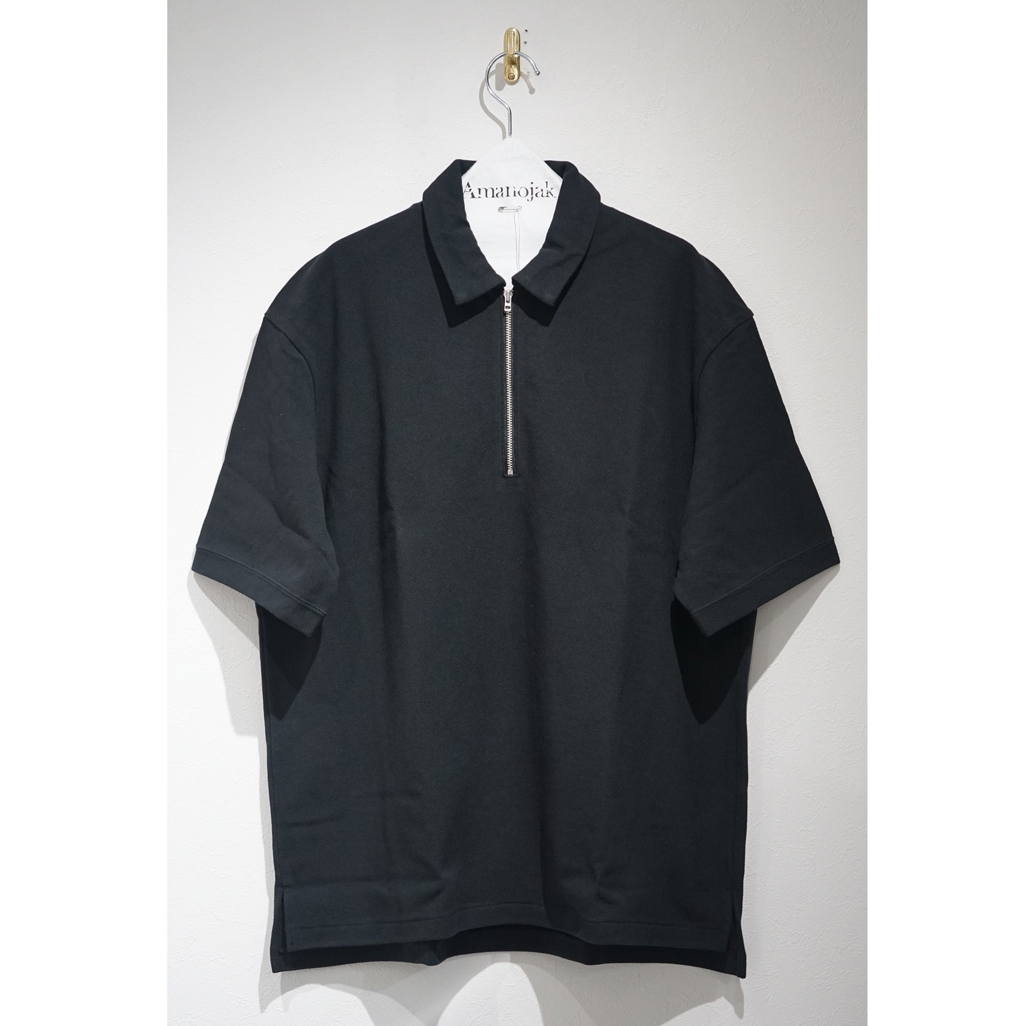 CURLY-BRIGHT SS ZIP POLO BLACK
