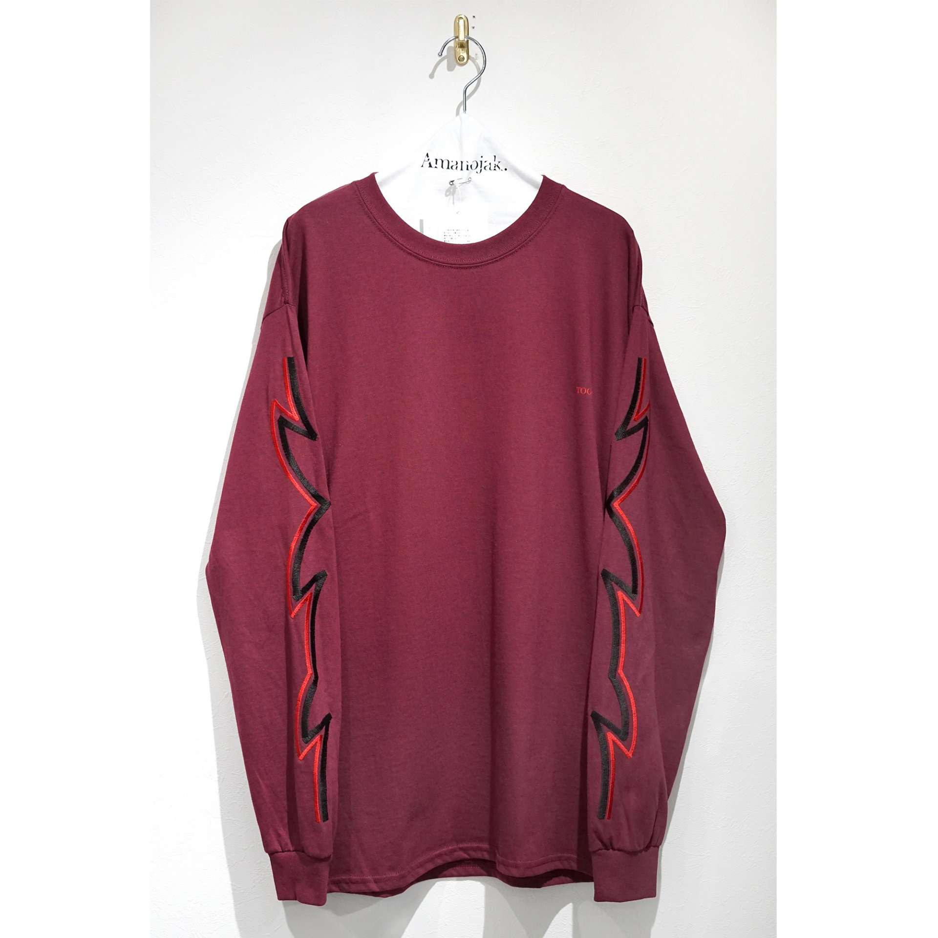 TOGA VIRILLIS-EMBROIDERY L/S SHIRT DARK RED