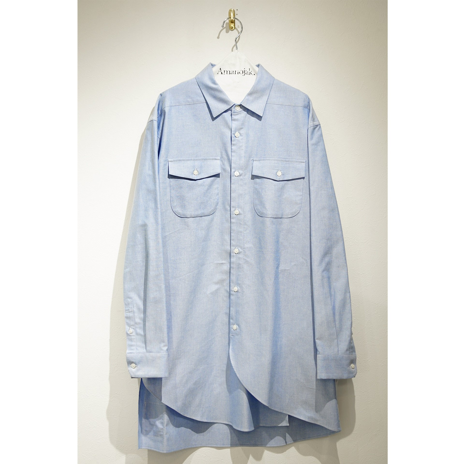 JULIEN DAVID-OXFORD YARN DYED DOBBY CLOTH LONG SHIRTS