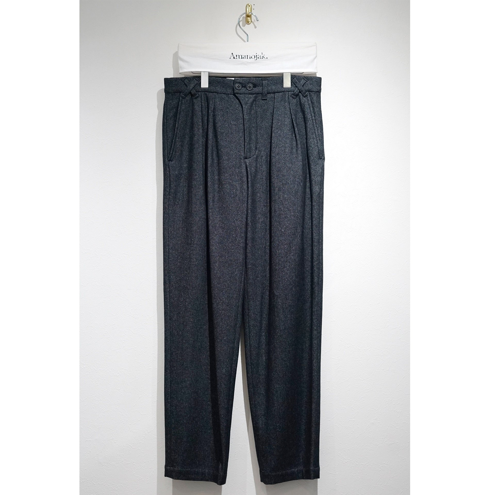 JULIEN DAVID-2 TUCK WIDE WOVEN TROUSERS NAVY