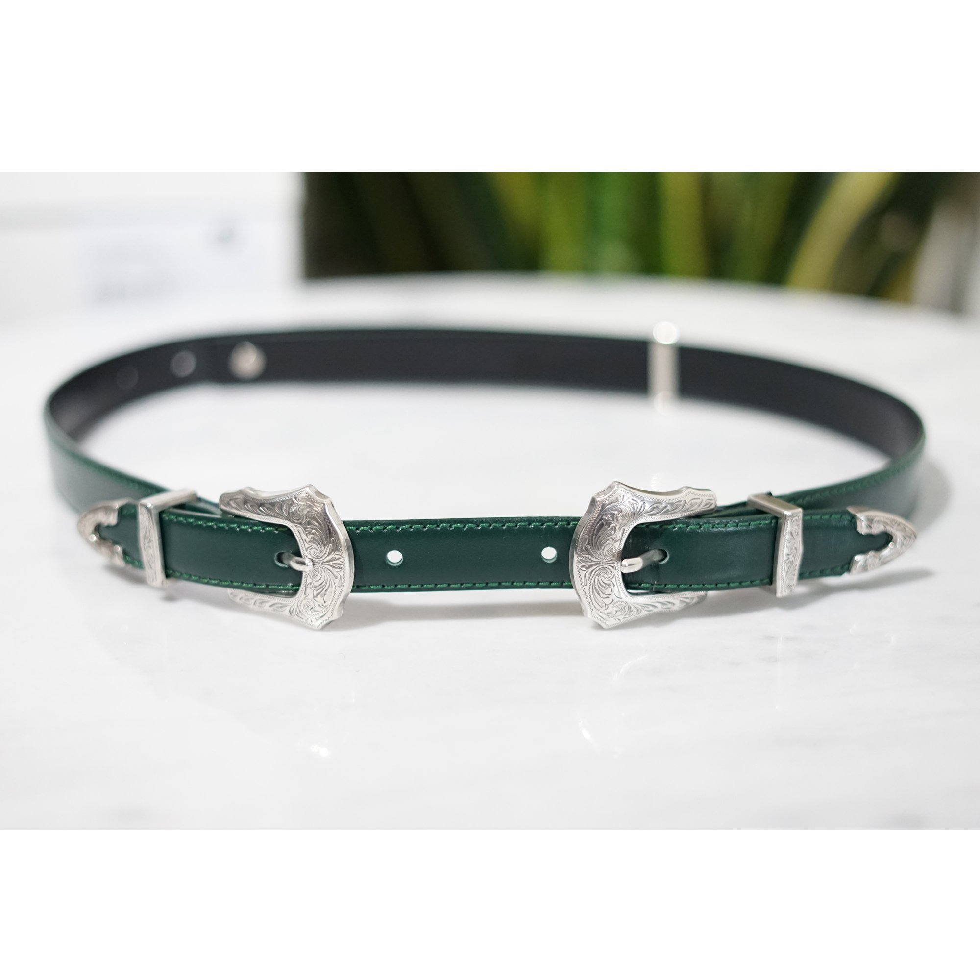 TOGA VIRILLIS-METAL BUCKLE LEATHER BELT GREEN