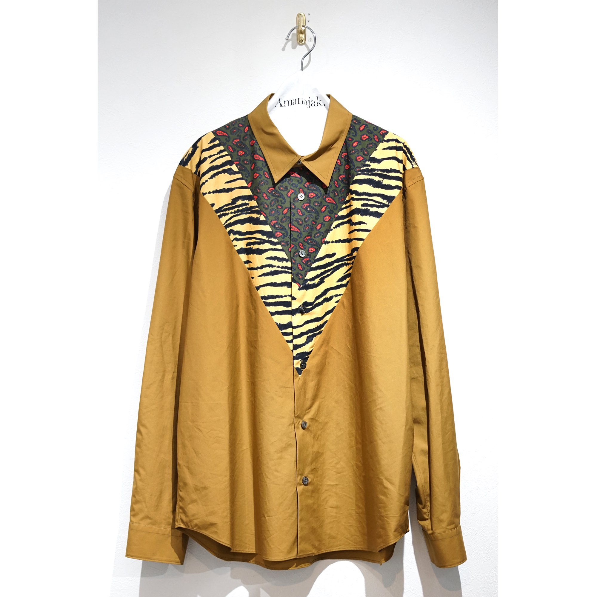 TOGA VIRILLIS-PRINT COTTON SHIRT BROWN
