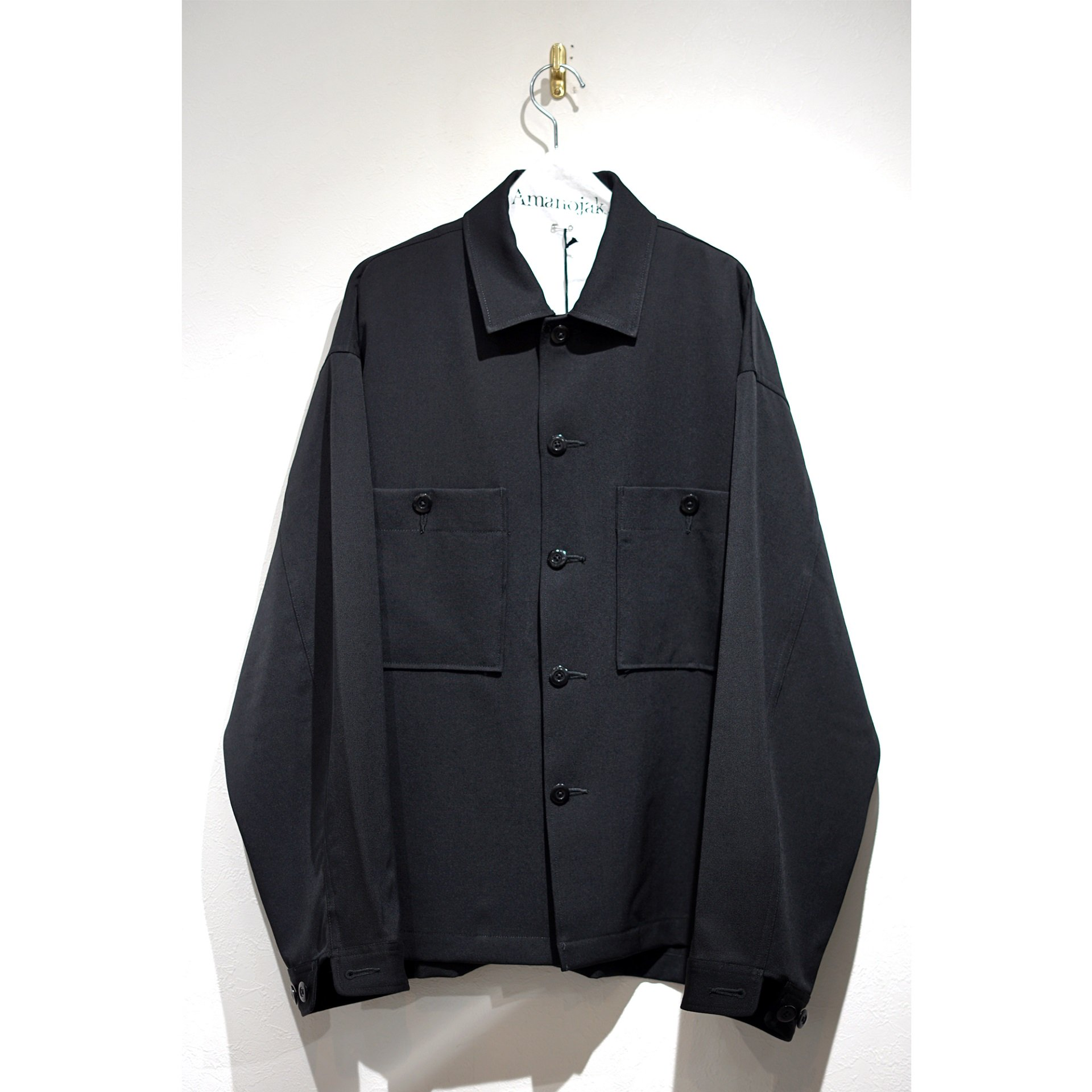 08sircus-GABARDINE STRECH SHIRT BLACK