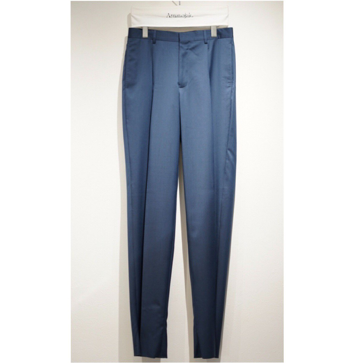 E.TAUZ-PLEATED WOOL TROUSERS PALE INDIGO TWILL