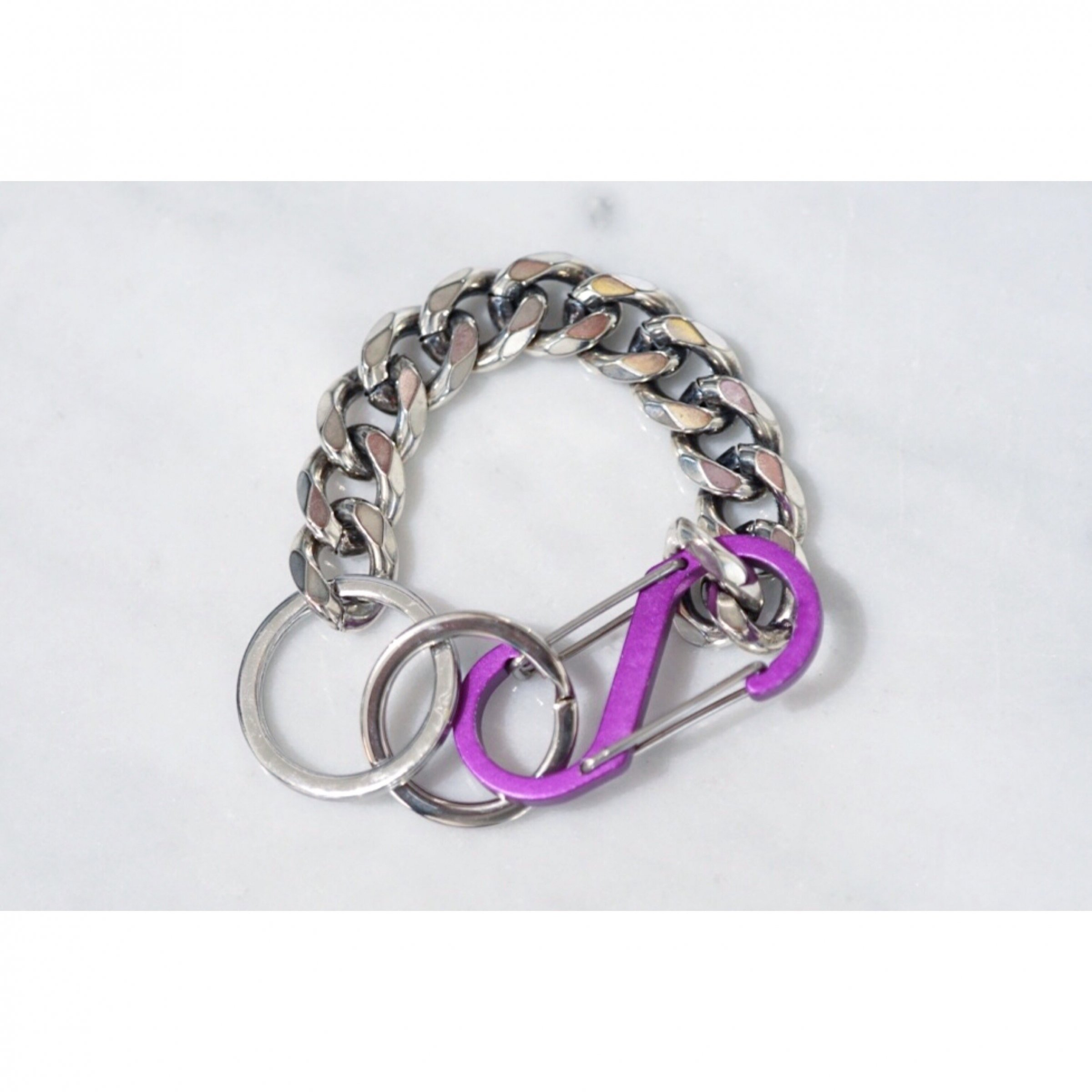 MARTINE ALI-COLOR CUBAN BRACELET HEIRLOOM SILVER/PURPLE