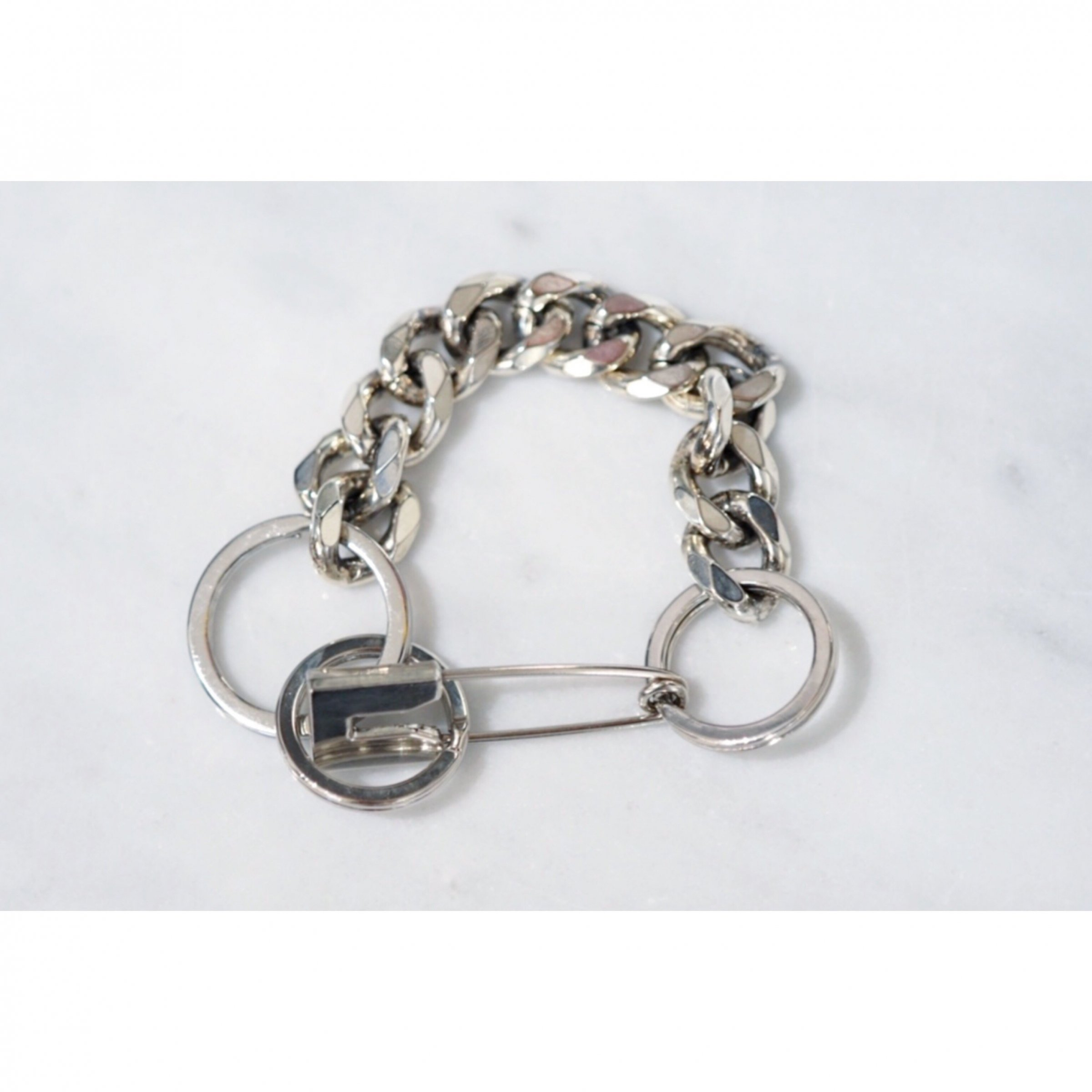 MARTINE ALI-PIN CUBAN BRACELET HEIRLOOM SILVER