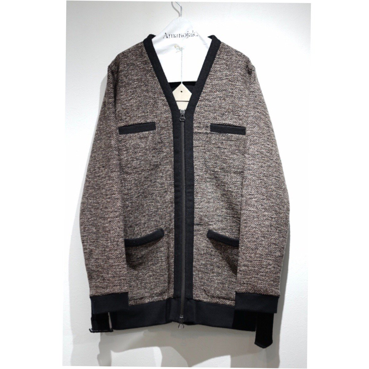 FRANK LEDER-WEAVED WOOL ZIP CARDIGAN