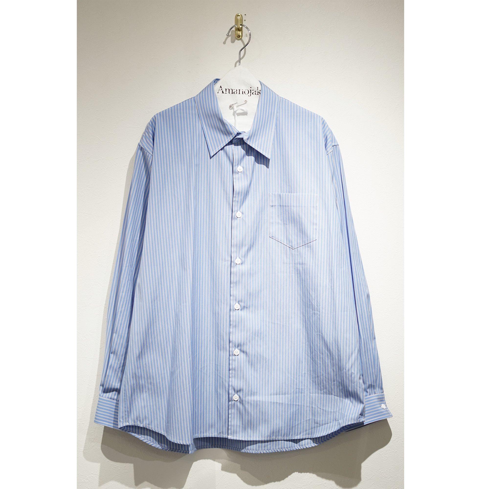 [Milok]-THE SHIRT BLUE STRIPE【THOMAS MASON FABRIC 】