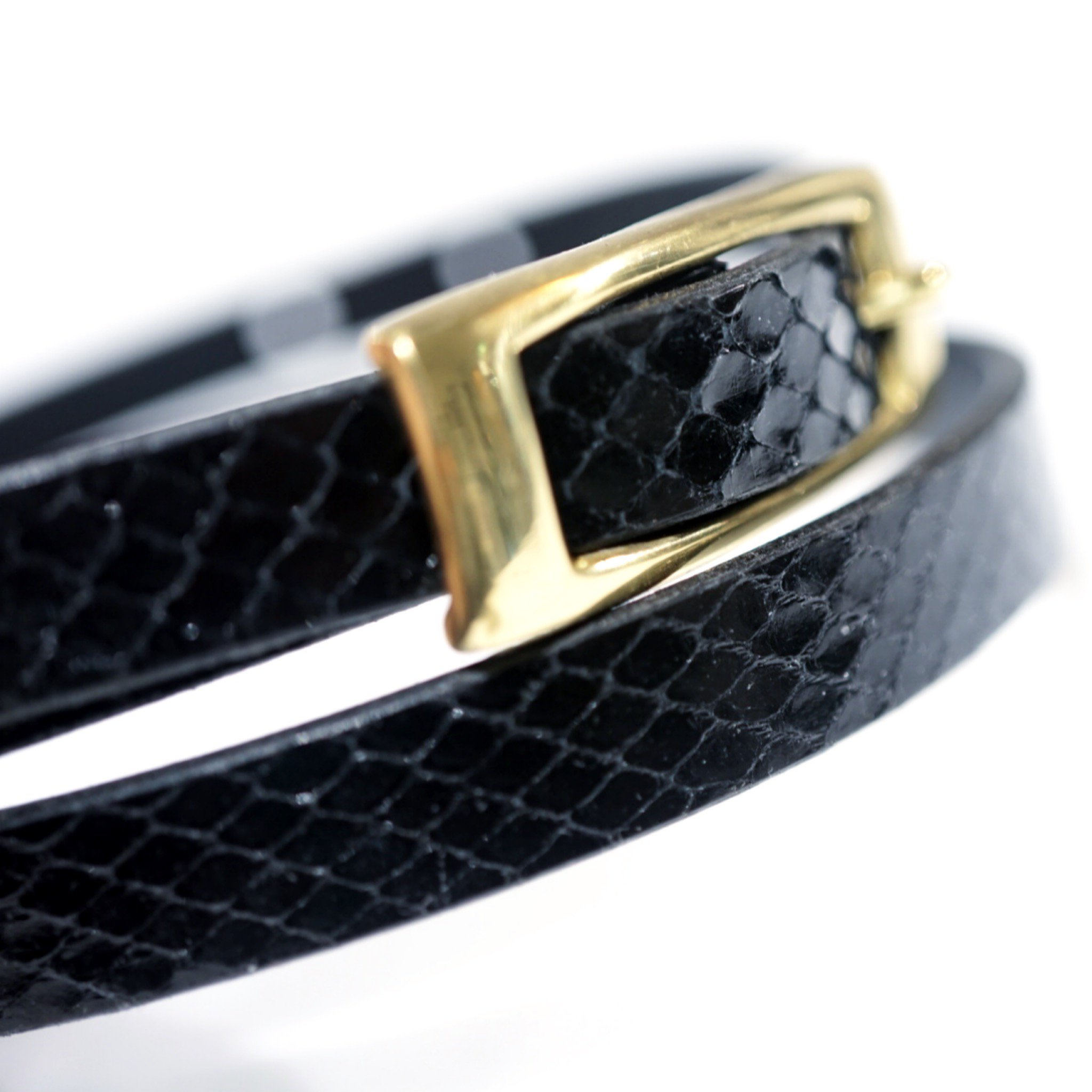 MASTER&Co.-PYTHON LEATHER NARROW BELT with BUCKLE