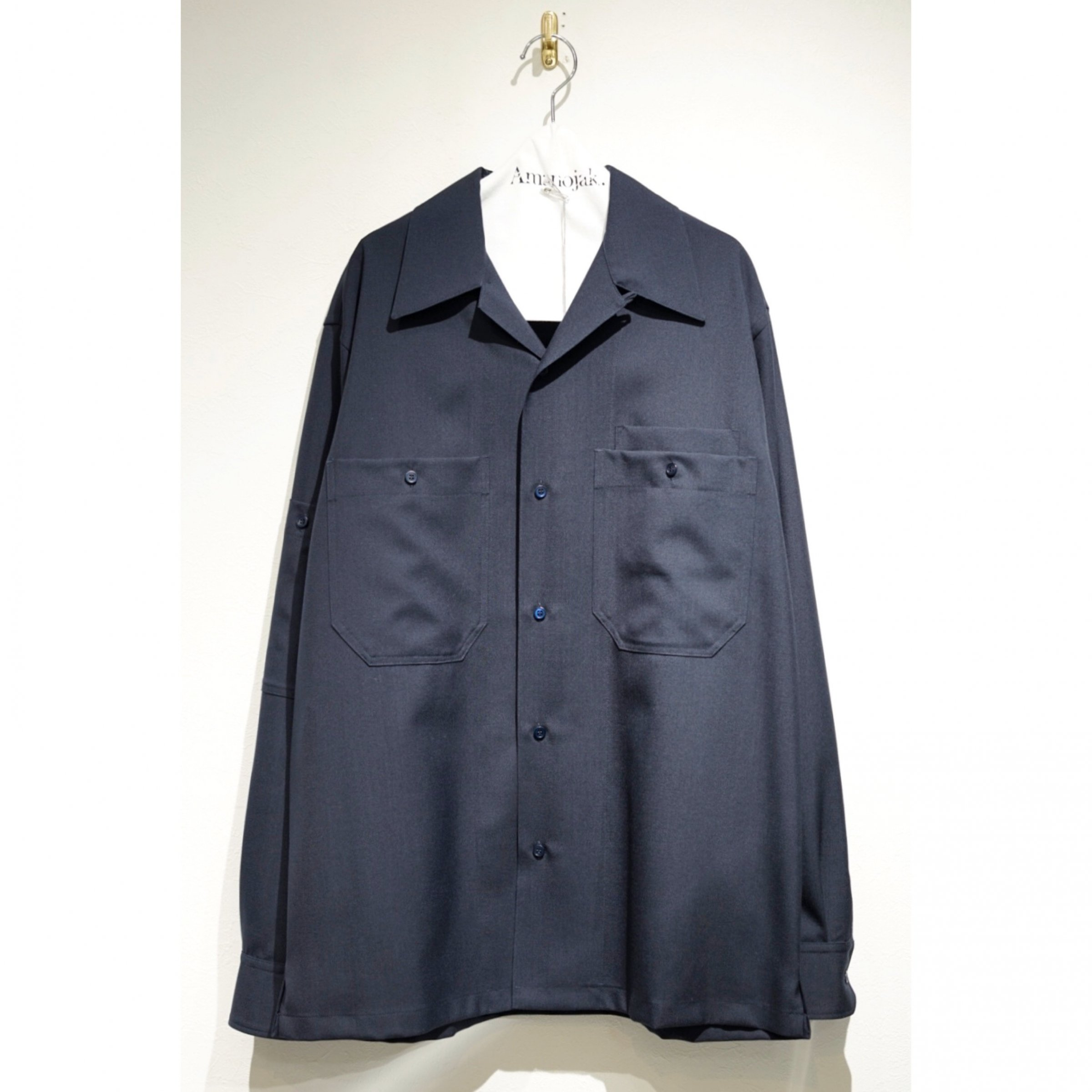 MARNI-WOOSTED WOOL OPEN COLLAR SHIRTS BLUE NAVY<br>(在庫なし)