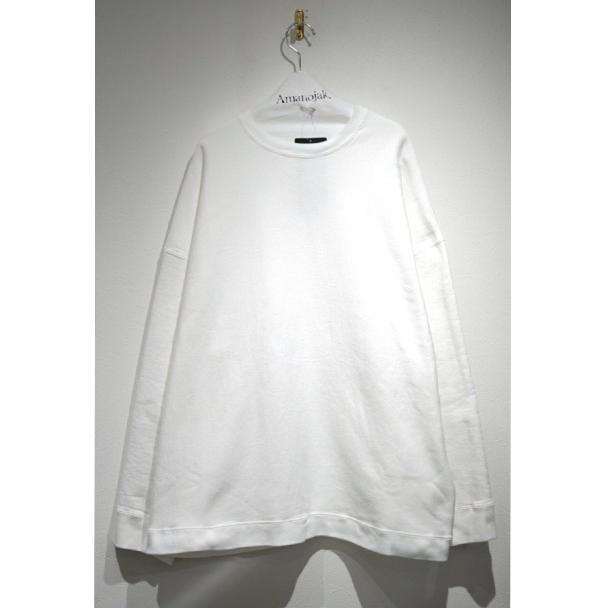 ATON-GARMENT DYE URAKE SWEAT WHITE