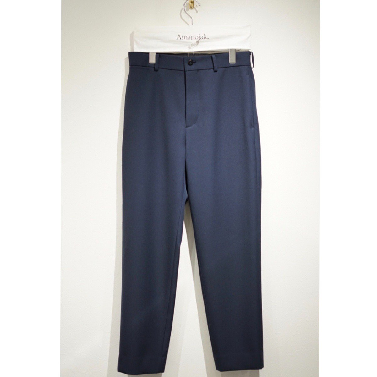 ATON-BACK SATIN BASIC PANTS NAVY