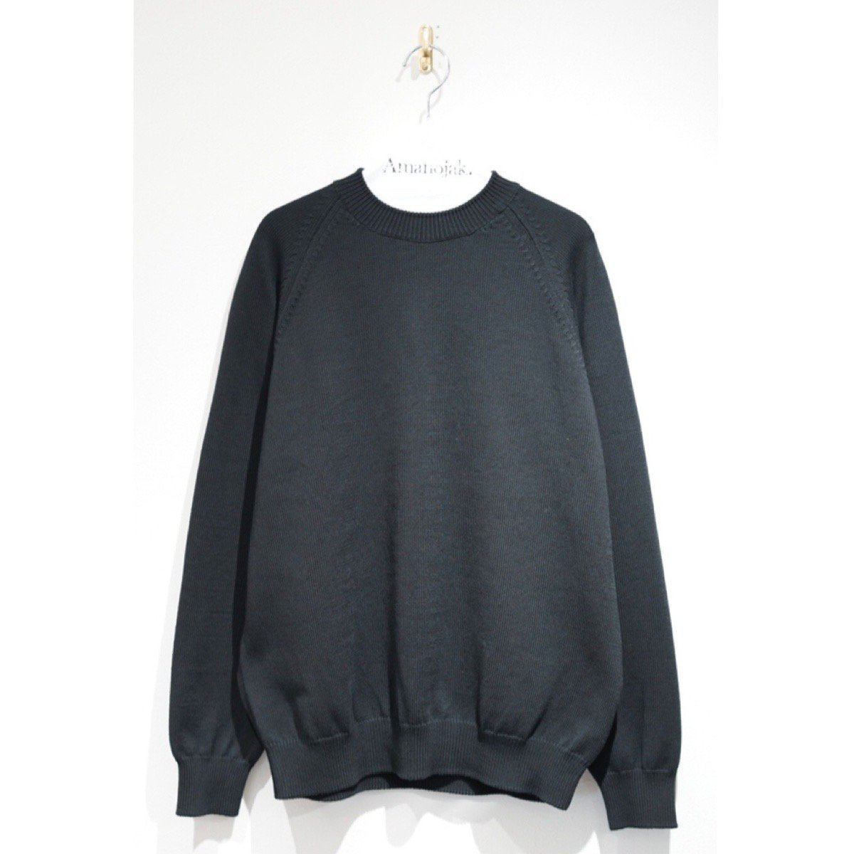 BATONER-AGING COTTON RAGLAN SLEEVE CREW NECK BLACK