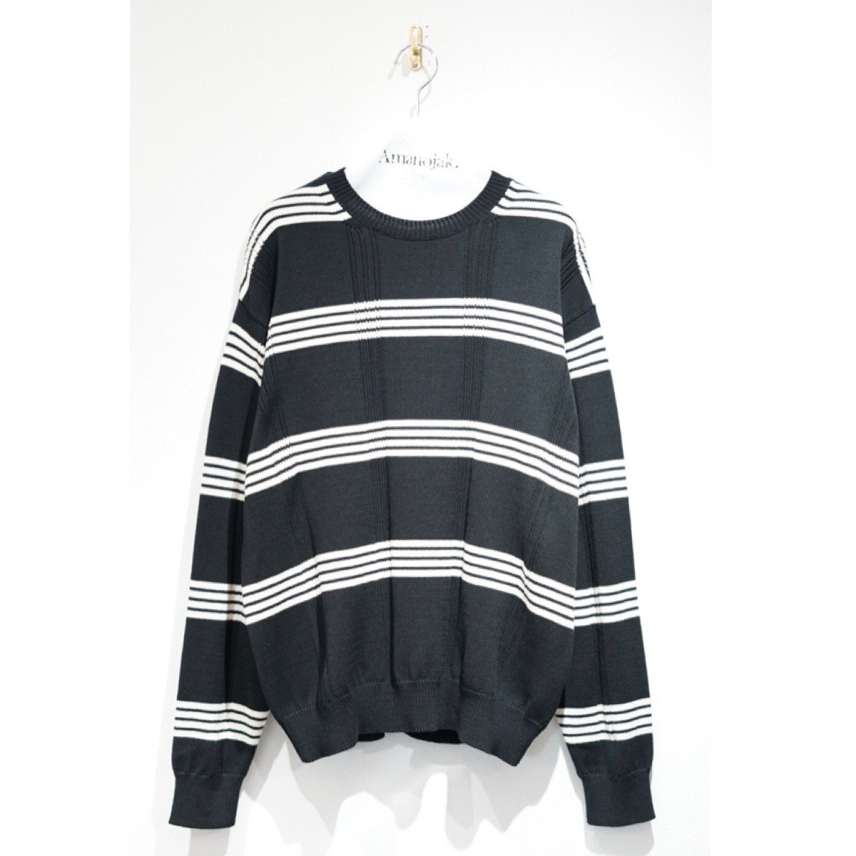 BATONER-AGING COTTON BORDER CREW NECK BLACK/IVORY