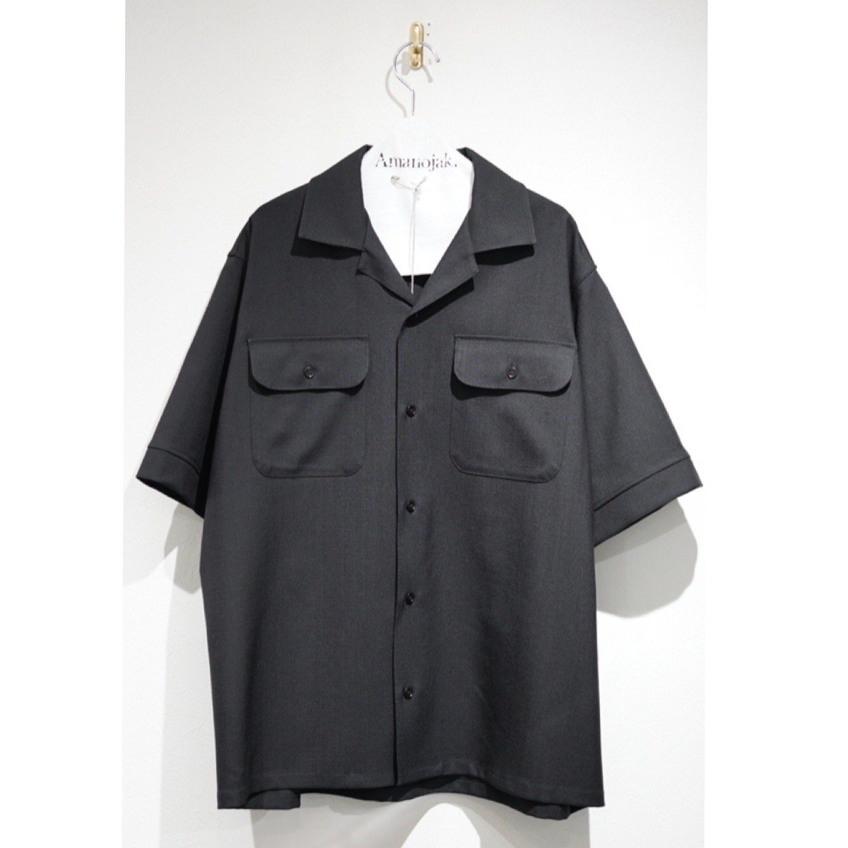 MARNI-RIP STOP WOOSTED WOOL O/C S/S SHIRTS BLACK<br>(在庫あり)