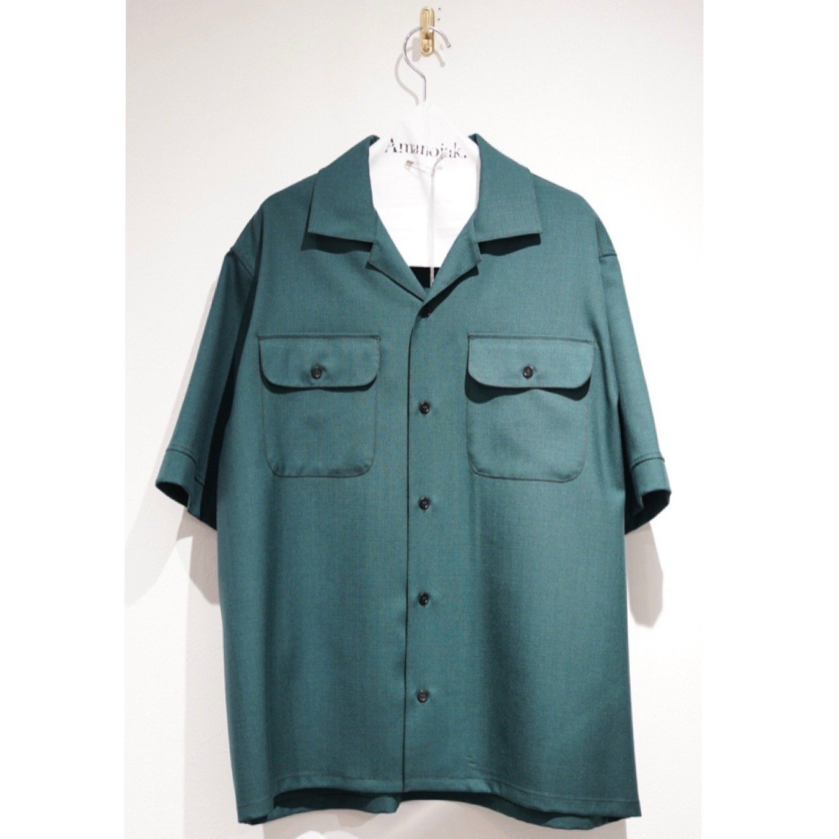 MARNI-RIP STOP WOOSTED WOOL O/C S/S SHIRTS GREEN<br>(在庫あり)