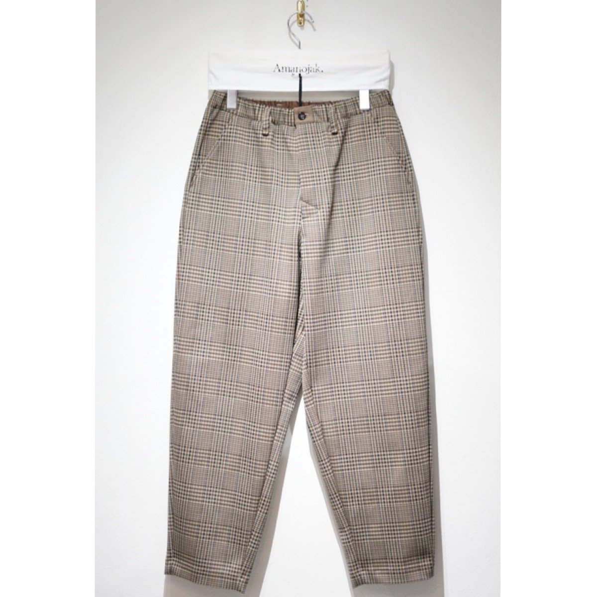 CURLY-BLEEKER WIDE TROUSER BEIGE CHECK