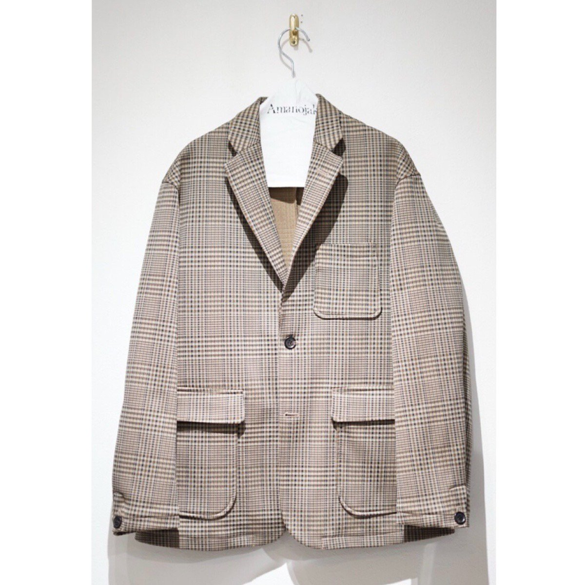 CURLY-BLEEKER JACKET BEIGE CHECK