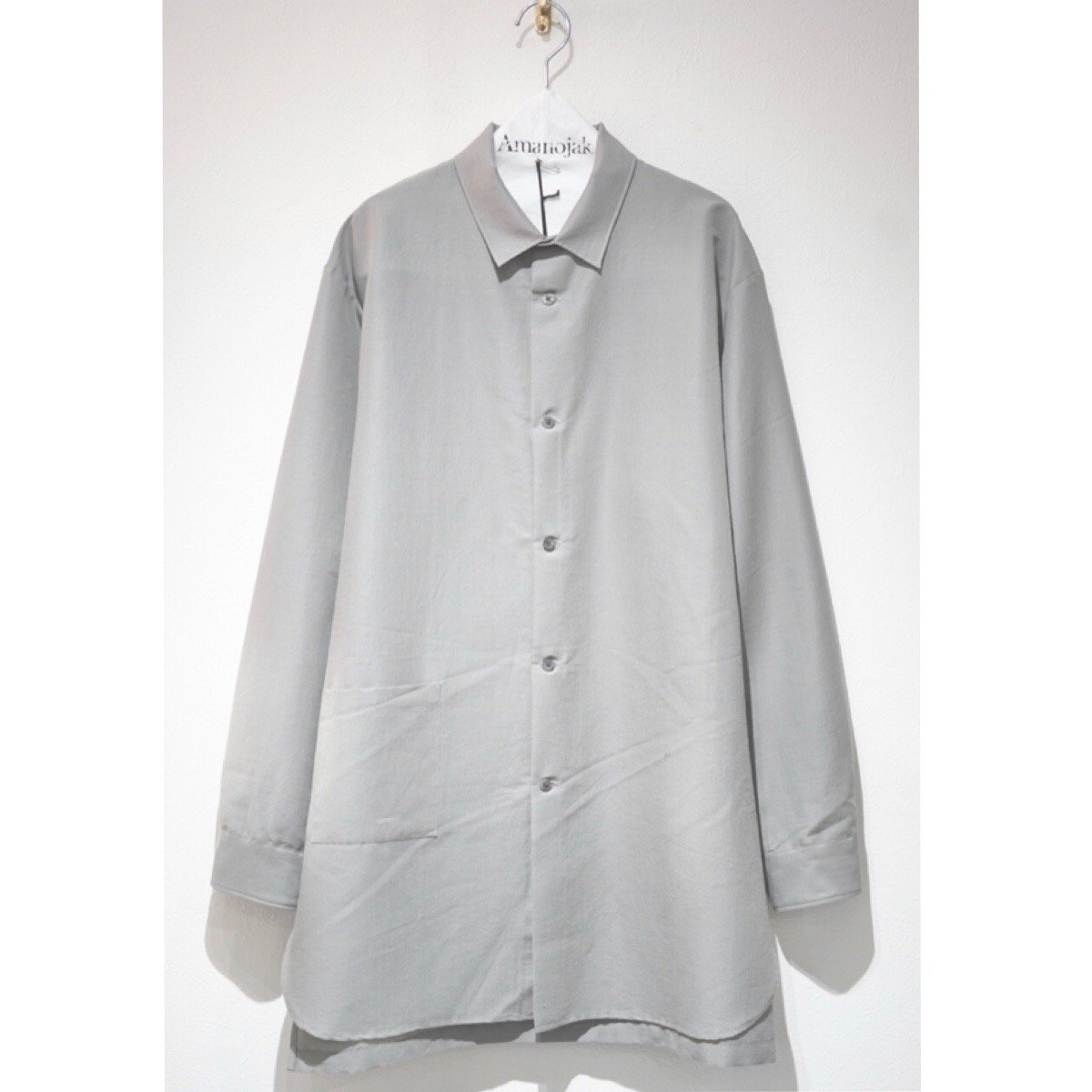 08sircus-MOHAIR WOOL COTTON LONG SHIRTS OUTER GREY