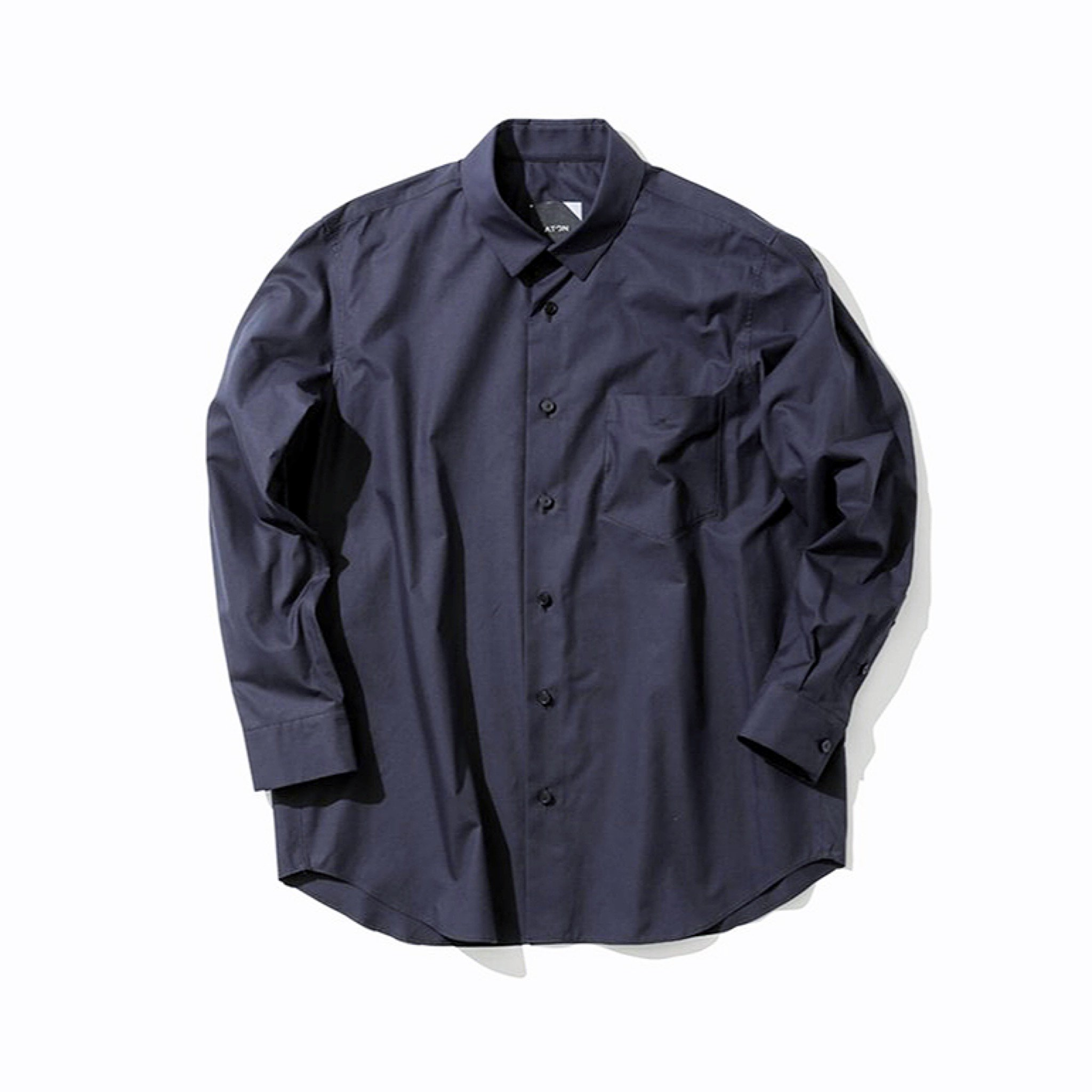ATON-SUVIN TWILL OVERSIZED SHIRTS NAVY