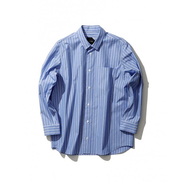 ATON-SUVIN TWILL OVERSIZED SHIRTS STRIPE