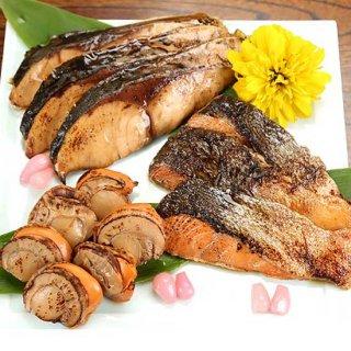 郷土料理・越後の焼き漬け(ぶり・鮭・ほたて)