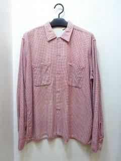 60's  プリントフランネル オープンカラーシャツ