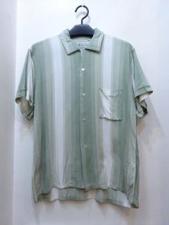 60's レーヨン オープンカラーシャツ グラデーションストライプ