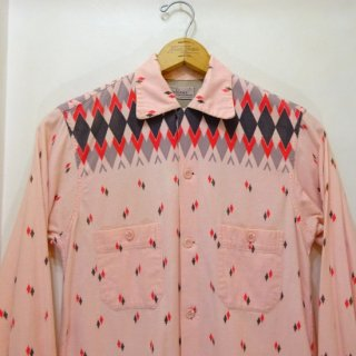 50's MOHAWK Diamond Pattern Printed Flannel Open Collar Shirts size S