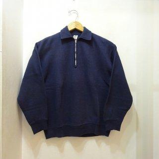 60's Vintage Half Zip Sweat Shirts Dark Navy