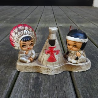 60's Indian Ceramic Salt & Pepper with Toothpick Holder