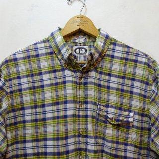 70's BERT PULITZER インディアンマドラス ボタンダウンシャツ size L