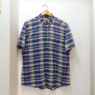 80's Norman Shirtsmakers インディアンマドラス プルオーバーボタンダウンシャツ size XL