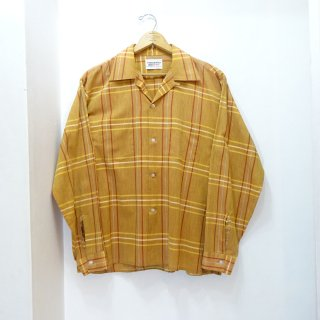 60's Manhattan Cotton Open Collar Shirts size L