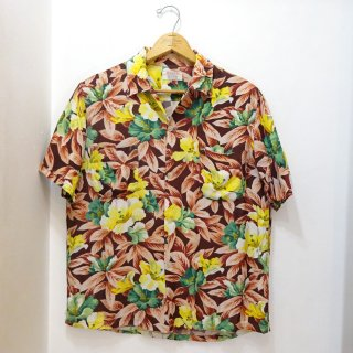 60's PENNEY'S Tropical Flower Pattern Rayon Hawaiian Shirts Made in Japan size M