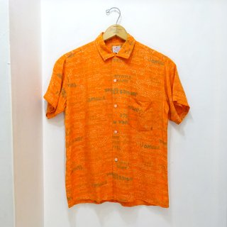 "50's Johnson's ""Jamaica Hotel"" Rayon Open Collar Shirts size M"