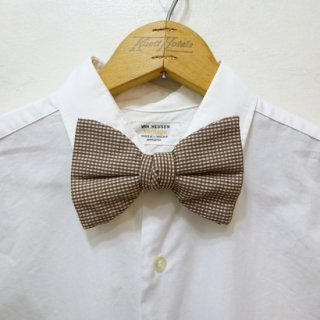Dead Stock Vintage Gingham Check Bow Tie Brown