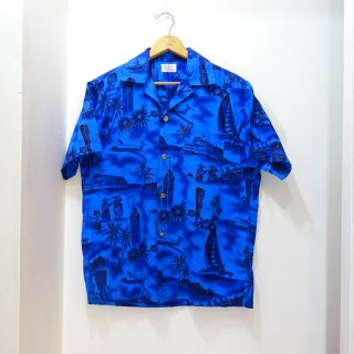50's Fashions of Hawaii Cotton Hawaiian Shirts Blue size L