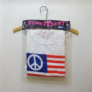 """Dead Stock 70's LINTON """"PEACE Flag"""" Design T-Shirts size M"""