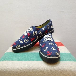 Dead Stock 70's Anchor Pattern Canvas Sneaker size Lady's 7 1/2