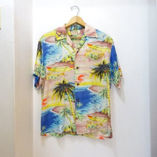 40's WAIKIKI SPORTS Rayon Hawaiian Shirts size about M 縮緬