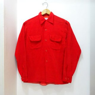 50's Vintage Corduroy Open Collar Shirts size S