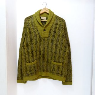 50's Catalina Cable Pattern Shawl Collar Pullover Wool Sweater size about 40
