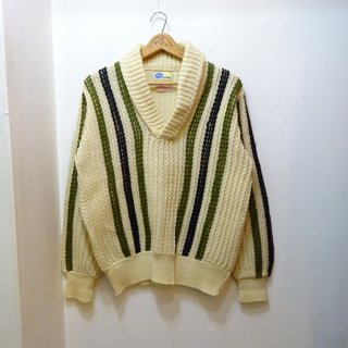 60's Pilgrim Shawl Collar Wool Sweater size about 38