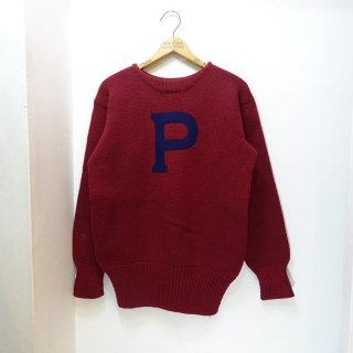 "30's KEDRON SHAKER MILLS Felt Lettered Wool Sweater & Earmuff ""Pennsylvania University"" size 40-42"