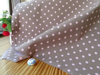 モカチョコ×ピンクの6ミリドット柔らかコットン