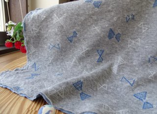 W巾シンプルリボンの接結ジャガードニット・グレー杢