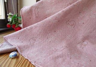 W巾ツリー&キツネの接結ジャガードニット・ピンク