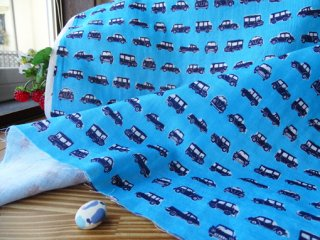 クラシックカー柄柔らかダブルガーゼ2・ターコイズブルー
